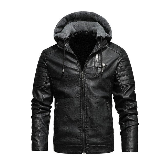 Hooded Faux Leather Biker Jacket, Black