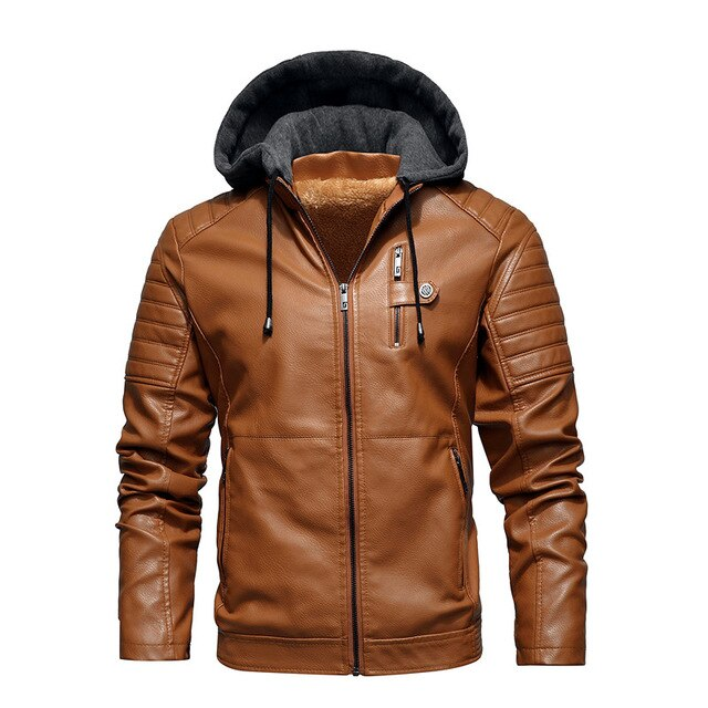 Hooded Faux Leather Biker Jacket, Tan