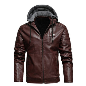 Hooded Faux Leather Biker Jacket, Brown