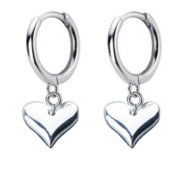 Hoop Earrings with Heart Charm