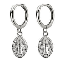 Hoop Earrings with Saint Charm