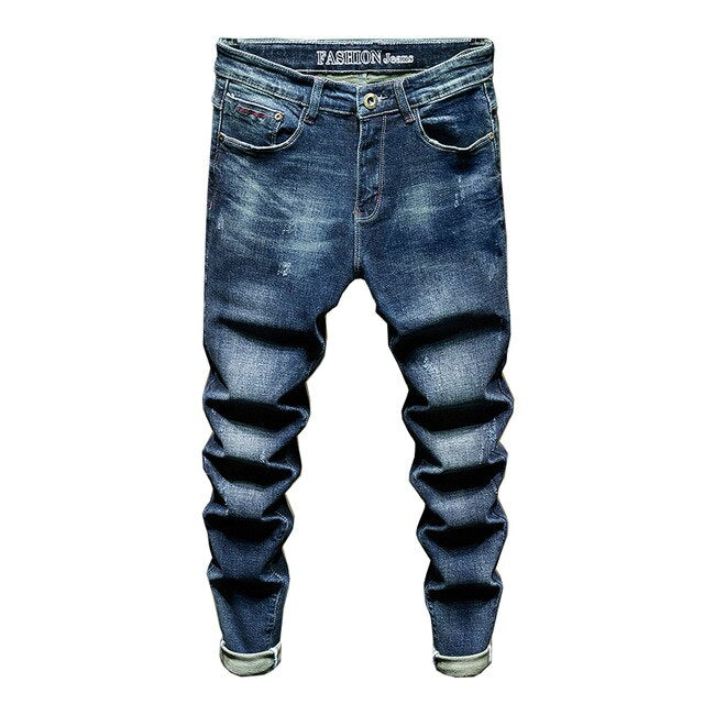 Distressed Fitted Jeans in Blue