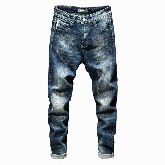 Bleached Stretch Fit Jeans Blue