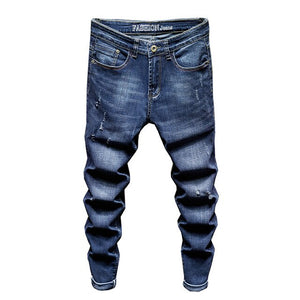 Stone Wash Stretch Slim Jeans in Blue