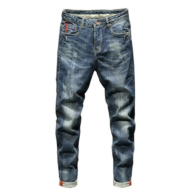 Distressed Stretch Slim Jeans in Washed Blue