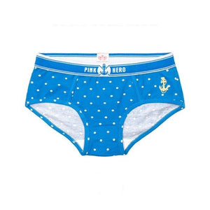 Anchor Pink Heroes Briefs, Blue | Kitsch Kandy Clothing - Tomboy Styles