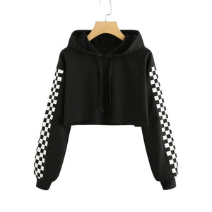 CHECKED Cropped Hoodie, Black | Kitsch Kandy Clothing - Tomboy Styles