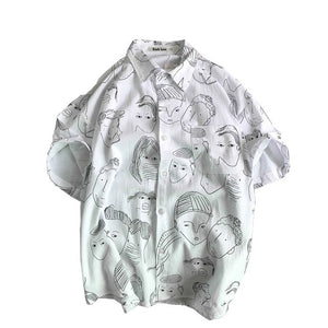 FACES Printed Shirt | Kitsch Kandy Clothing - Tomboy Styles