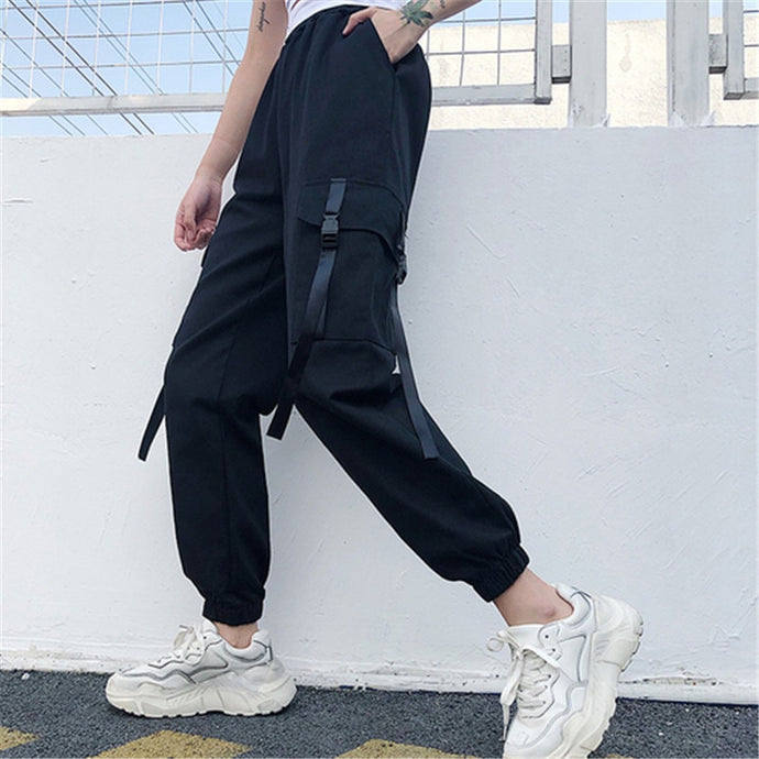 Deep Pocket Cargo Pants, Black - Kitsch Kandy - Tomboy Styles
