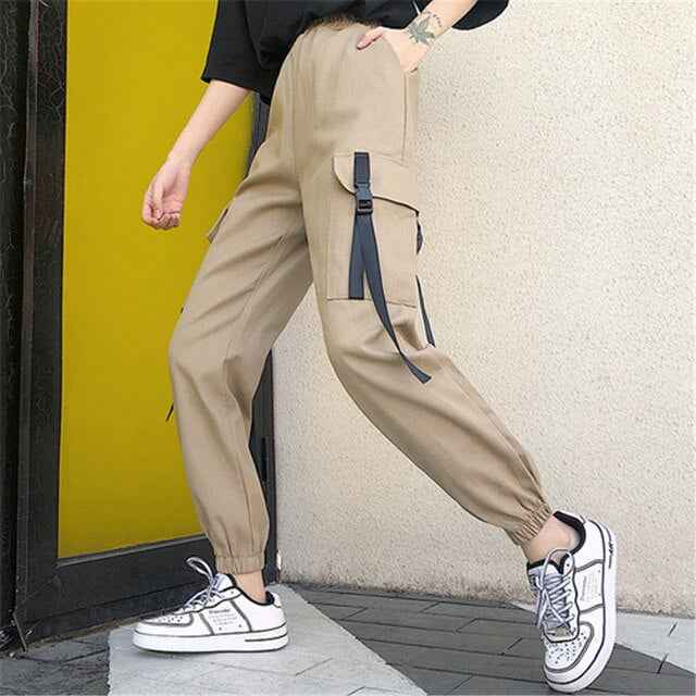 Deep Pocket Cargo Pants, Khaki - Kitsch Kandy - Tomboy Styles