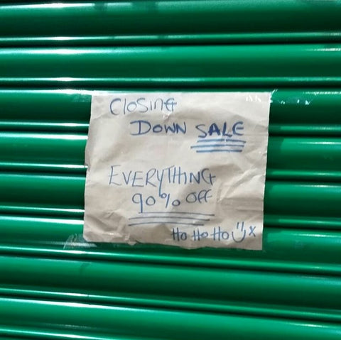 A Sign Someone Left On Our Leeds Soap Shop Shutter Suggesting We Were Closing