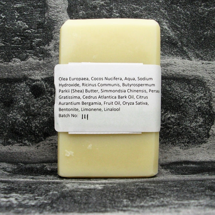Back Of Cedarwood & Bergamot Hair & Body Shampoo Soap Bar By Barmby On The Marsh Artisan Soaps | Adam & Eco