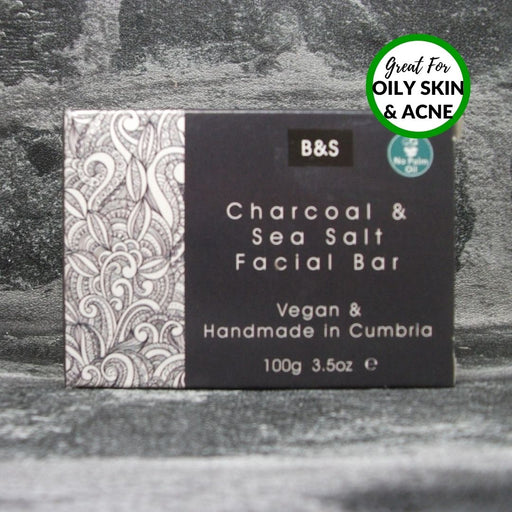 Charcoal & Sea Salt Natural Handmade Face Soap Bar By Bain & Savon