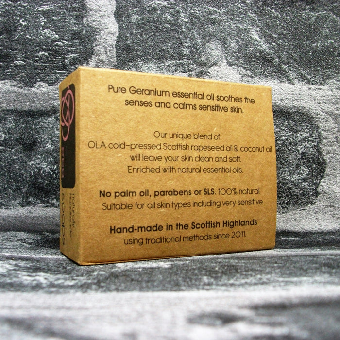 Eco Soaps Geranium Soap Bar Rear - Adam & Eco