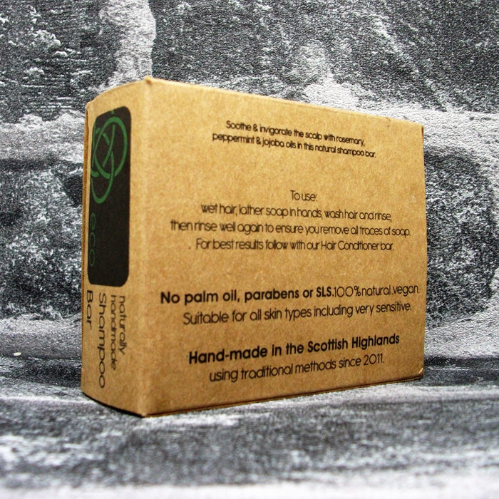 Eco Soaps' Invigorating Rosemary & Peppermint Shampoo Bar For All Hair Types Reverse