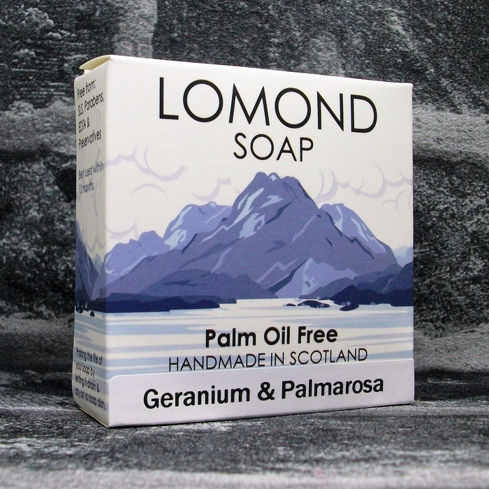 Geranium & Palmarosa Soap Bar By Lomond Soap - Front - Adam & Eco