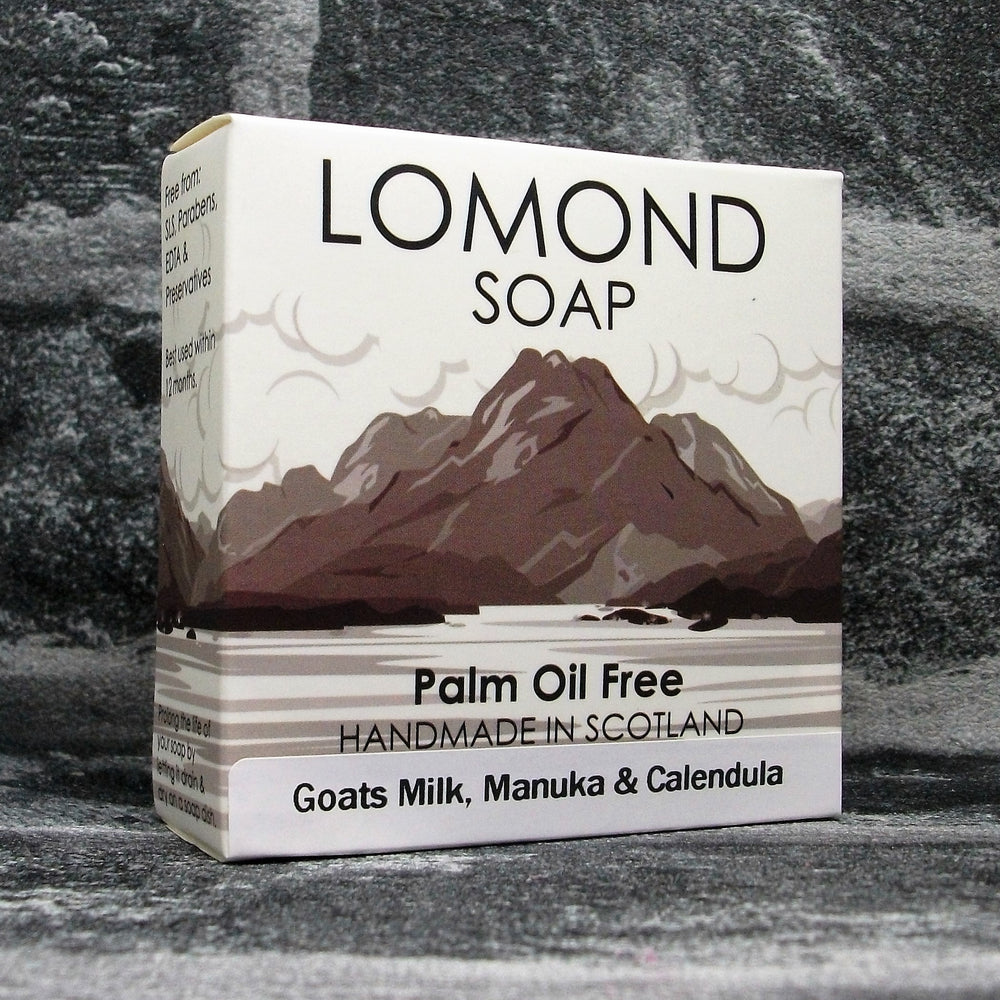 Goats Milk, Manuka & Calendula Soap Bar By Lomond Soap - Front - Adam & Eco