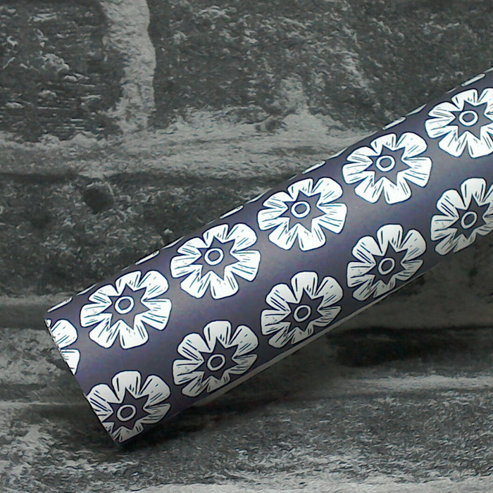 Woodblock Flowers Recycled Wrapping Paper With Vegetable Ink | Adam & Eco