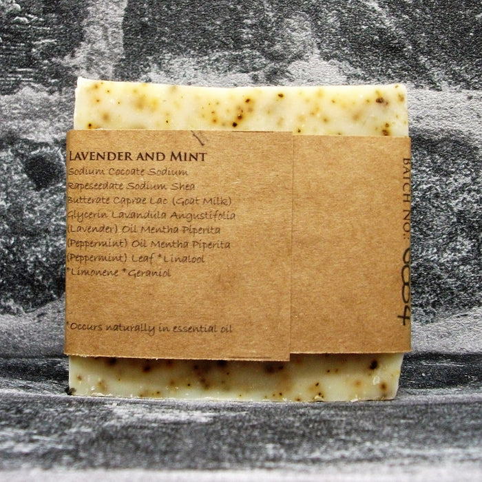 Lavender & Mint Goats Milk Soap Bar Reverse By The Spinney Goat Company