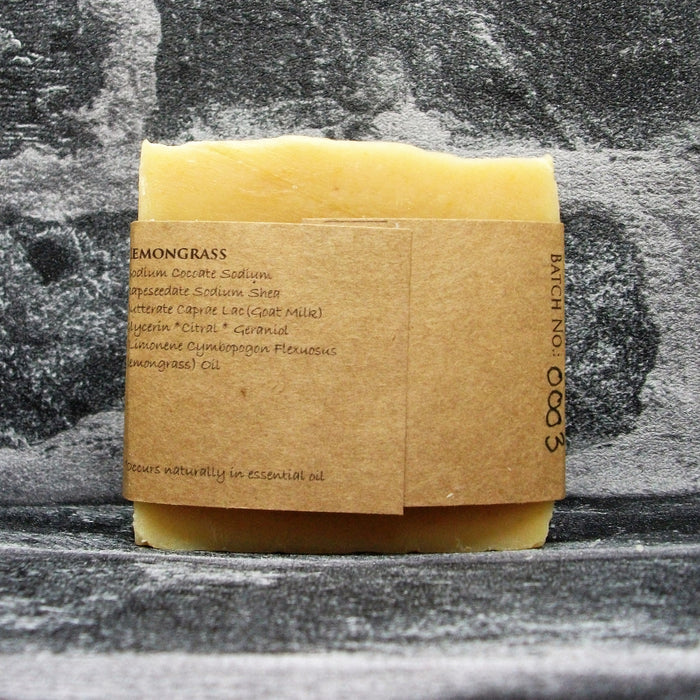 Lemongrass Goats Milk Soap Bar Reverse By The Spinney Goat Company