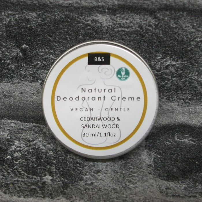 Natural Solid Deodorant Creme In A Tin With Cedarwood & Sandalwood Fragrance