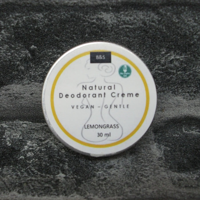 Natural Solid Deodorant Creme In A Tin With Lemongrass Fragrance