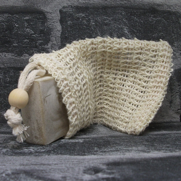 Natural Jute Hanging Drawstring Soap Bag With Open Weave