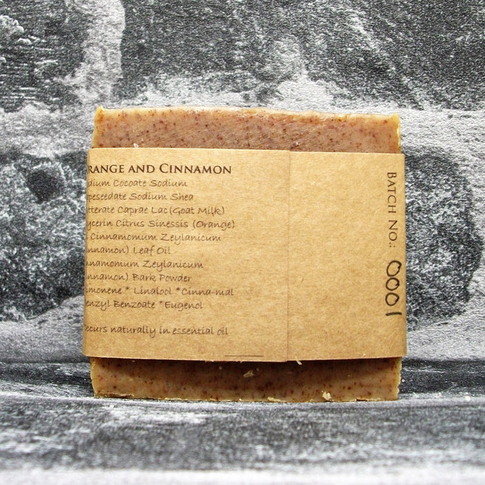 Orange & Cinnamon Goats Milk Soap Bar Reverse By The Spinney Goat Company