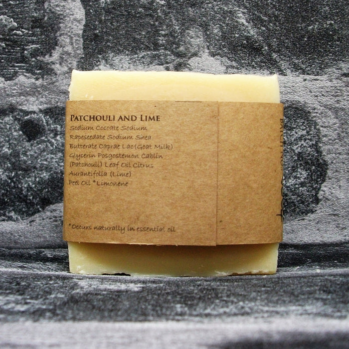 Patchouli & Lime Goats Milk Soap Bar Reverse By The Spinney Goat Company