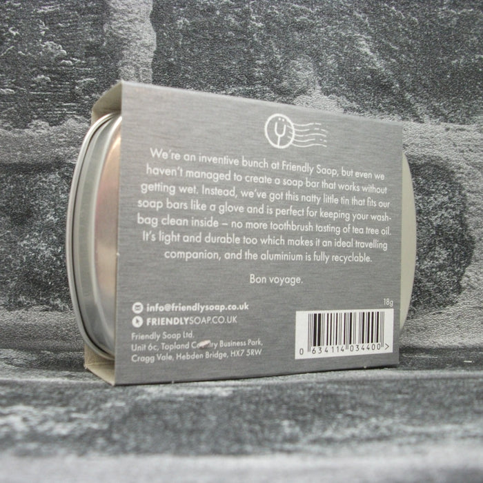 Friendly Soap Travel Tin With Outer Packaging Reverse