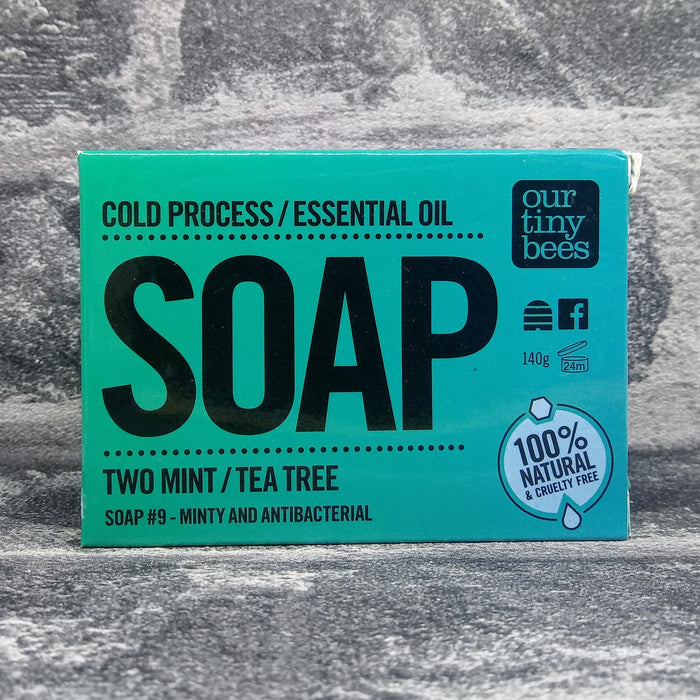 Two Mint & Tea Tree Natural Handmade Soap Bar By Our Tiny Bees
