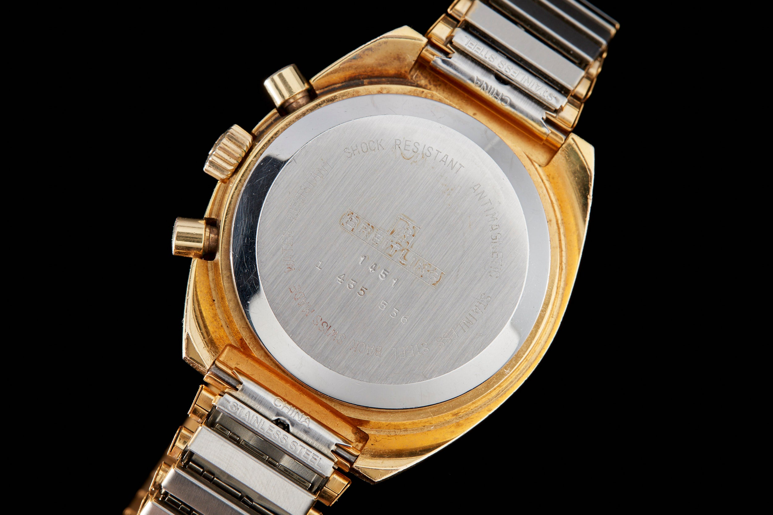 Breilting Triple Register Gold Plate 1451 Chronograph