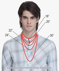 A sizing chart for Mens chains.