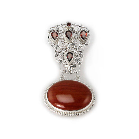 Red Jasper and Garnet Pendant