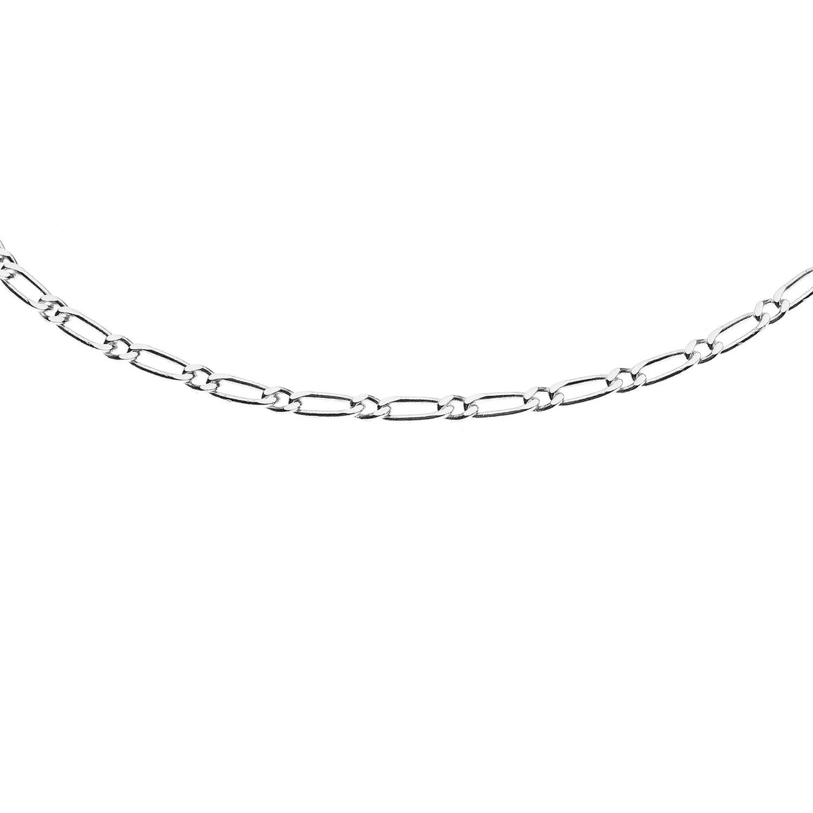 Sterling Silver Italian Figaro 2 Link Chain - 2.1 mm
