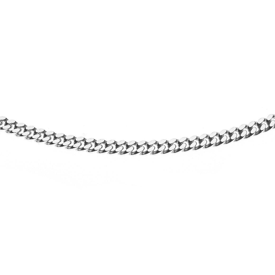 Sterling Silver Italian Double Sided Diamond Cut Curb Chain - 2.2mm