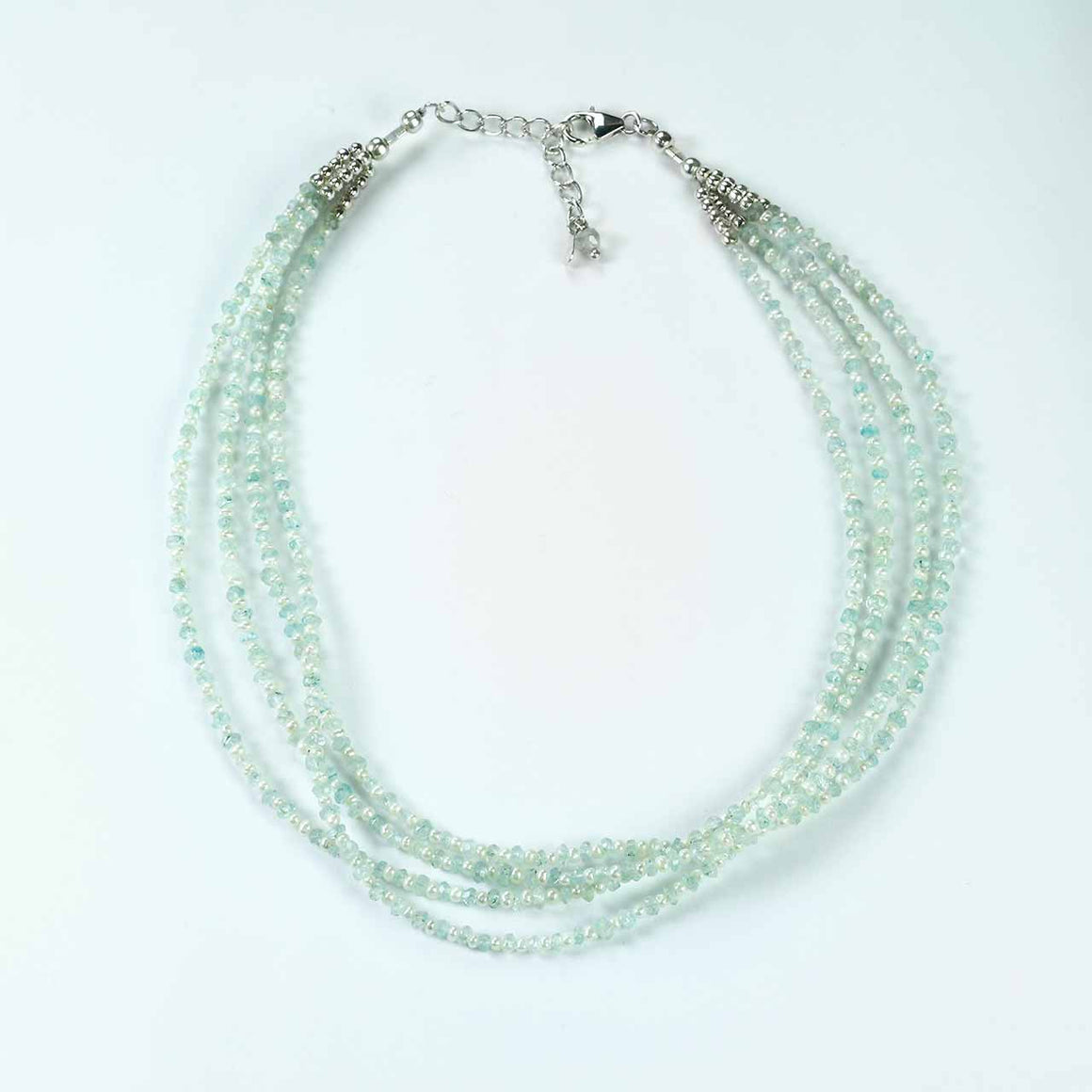 Aquamarine and Freshwater Pearl 3 Strand Necklace