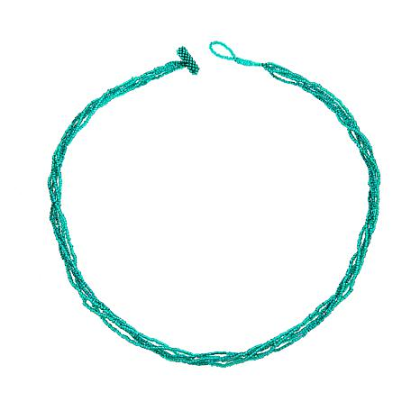 "Emerald Green 5 Strand 24"" Potay Necklace"