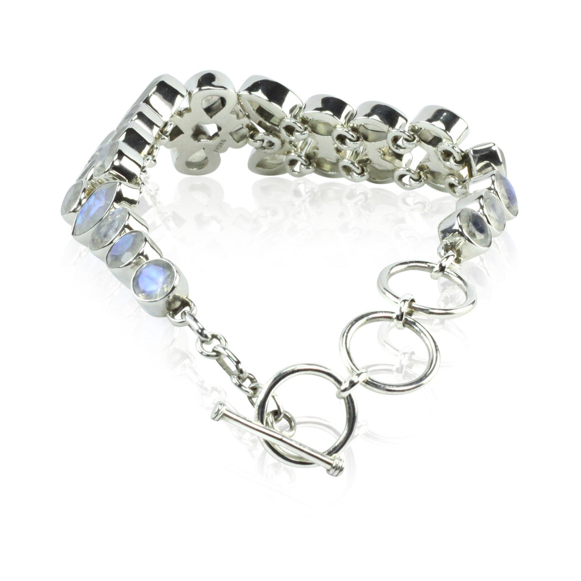 Faceted Rainbow Moonstone Link Bracelet