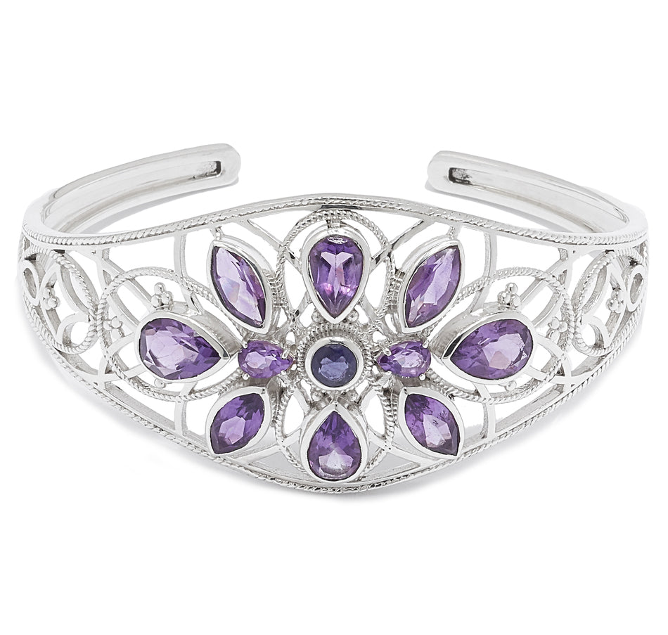 Amethyst and Iolite Gemstone Cuff Bracelet