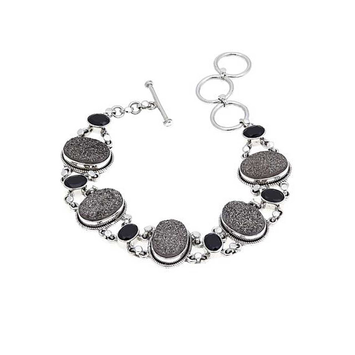 Platinum Drusy and Black Spinel Link Bracelet