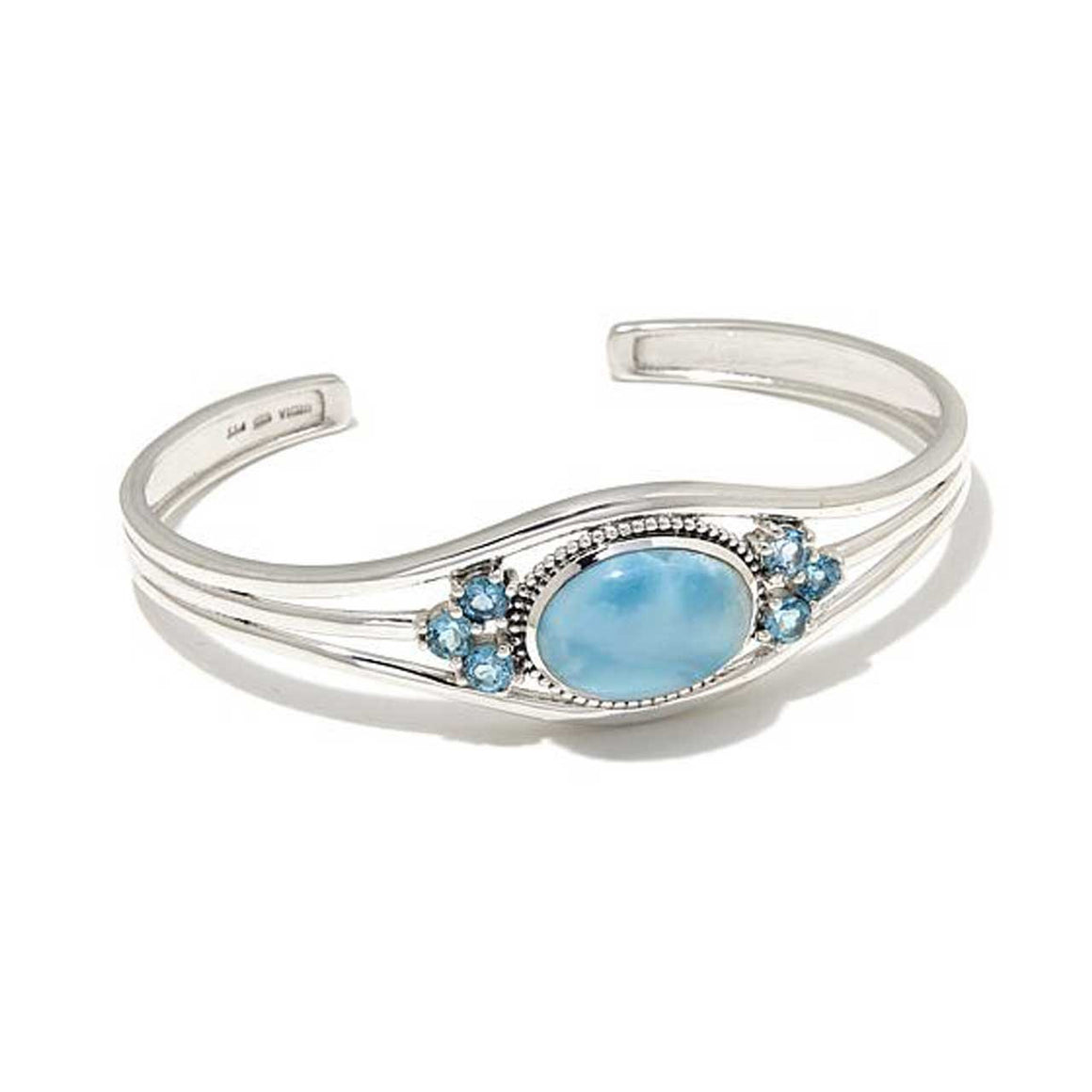 Larimar and Blue Topaz Cuff Bracelet