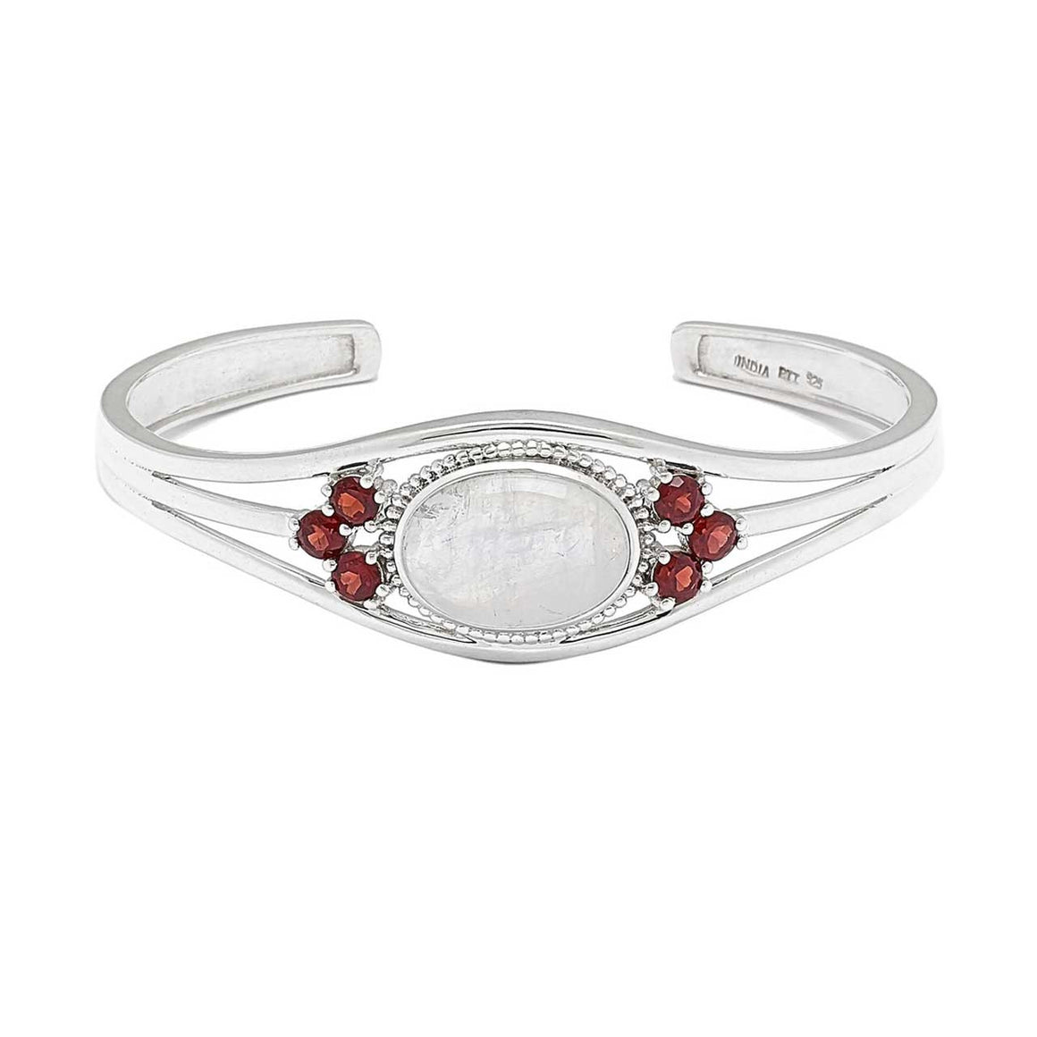 Rainbow Moonstone and Garnet Cuff Bracelet