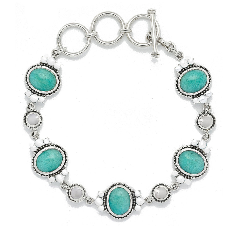 Amazonite and White Freshwater Pearl Link Bracelet