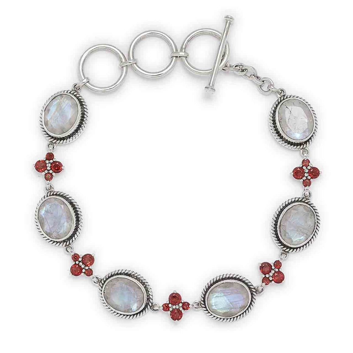Faceted Rainbow Moonstone & Garnet Link Bracelet