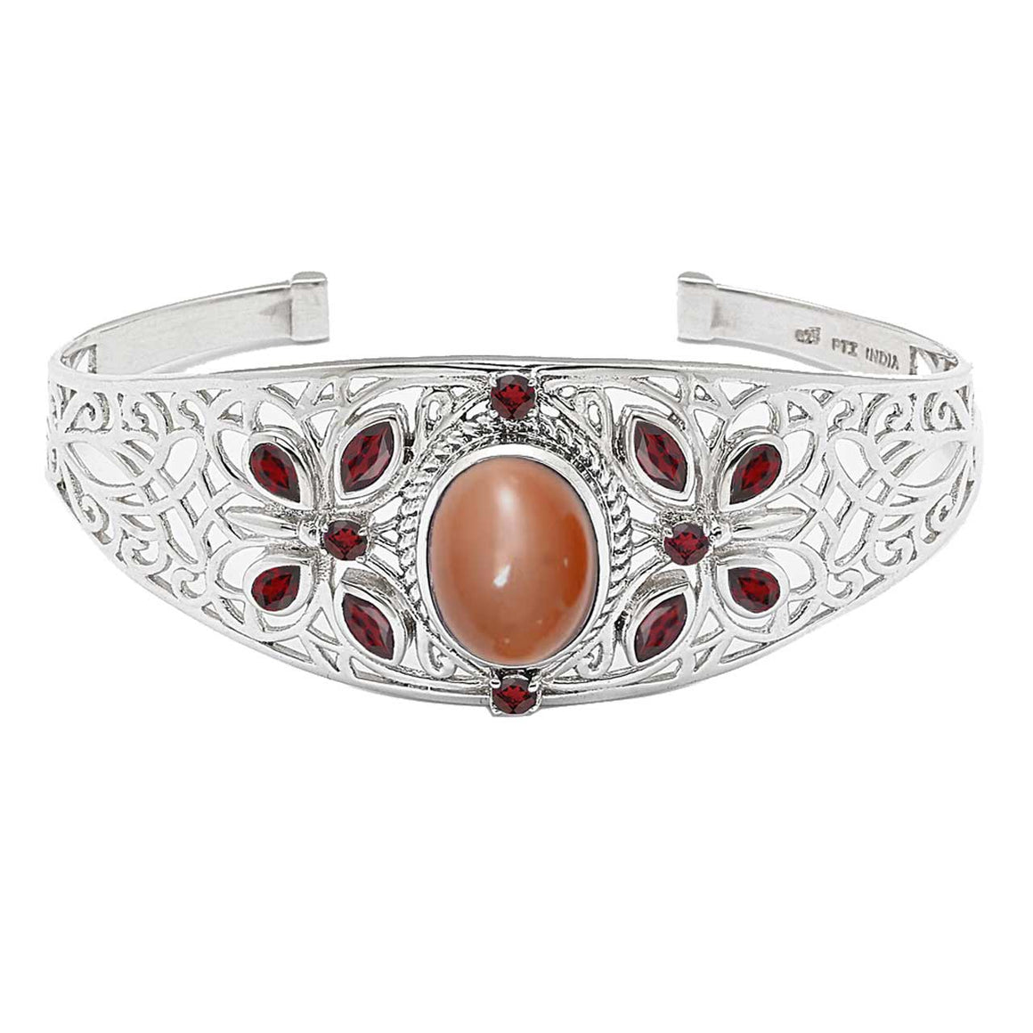 Peach Moonstone and Garnet Cuff Bracelet