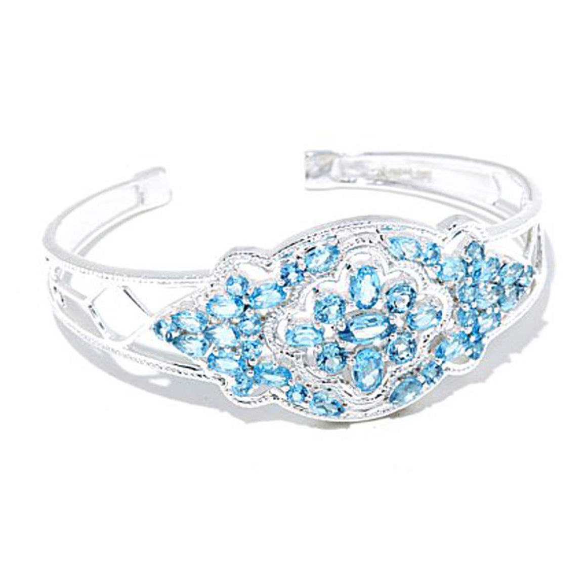 Multi Gemstone Swiss Blue Topaz Cuff Bracelet