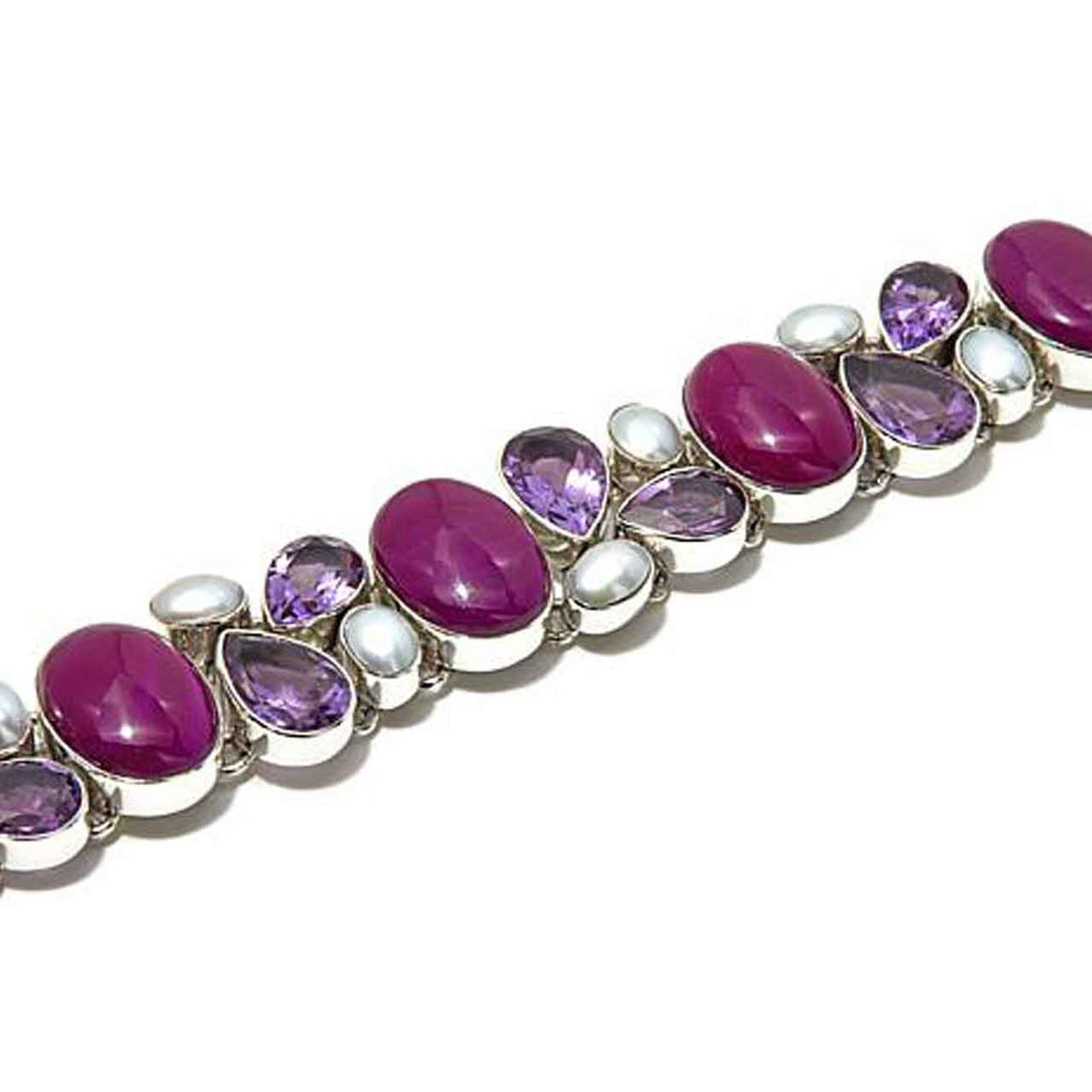 Alunite, Amethyst and Freshwater Pearl Multi Gemstone Bracelet