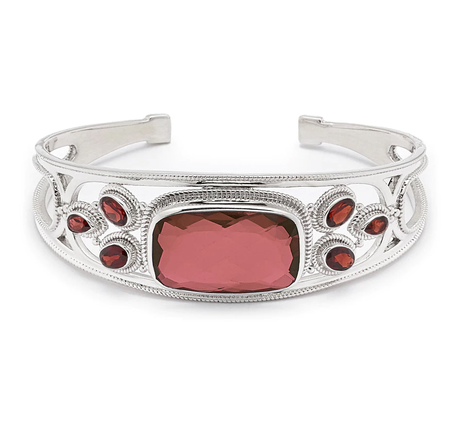 Garnet Quartz and Garnet Gemstone Cuff Bracelet