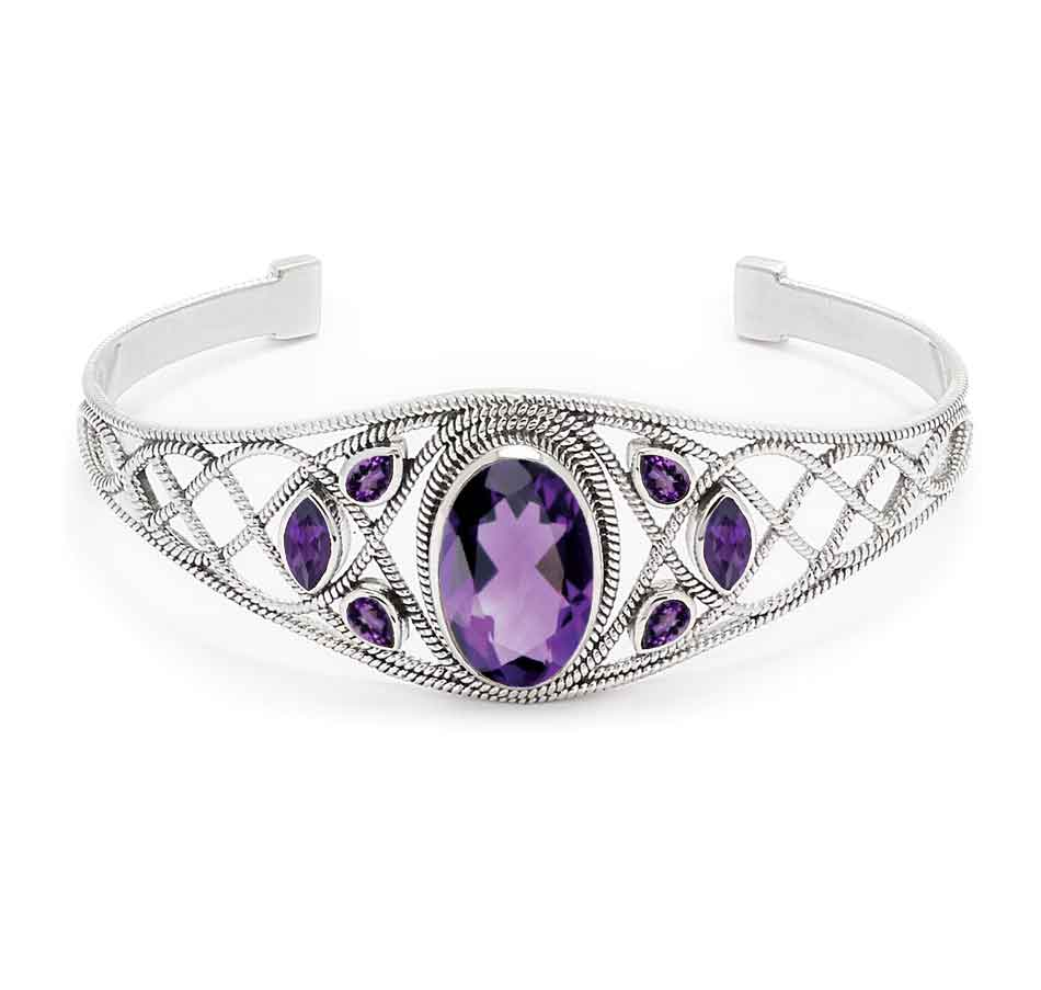 Amethyst Quartz and Amethyst Gemstone Cuff Bracelet